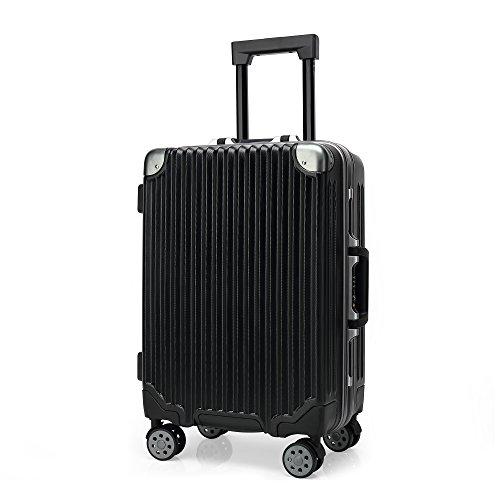 クロース(Kroeus)スーツケース キャリーケース TSAロック搭載 アルミフレーム ダブルキャスター エンボス加工 S型機内持ち込み可 トランクケース 軽量 出張 日本語取扱説明書 1年間保証 24 ブラック
