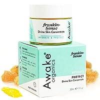 フランキンセンスフェイス、ネック&アイクリーム、デイ&ナイトモイスチャライザー、30g by Awake Organics-乾燥した成熟した敏感肌を瞬時にふっくらと保護-ビタミンC + Eフォーミュラがコラーゲンの減少を軽減