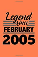 Legend Since February 2005 Notebook: Lined Journal - 6 x 9, 120 Pages, Affordable Gift, Coral Matte Finish