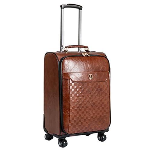 Femoooboro ハイグレードPUレザー素材 ナンバーロック 静音キャスター スーツケーストップ コーヒー 旅行ラッゲージ - S