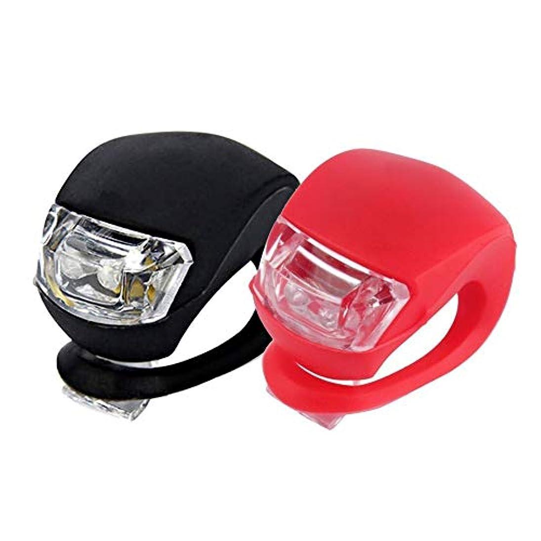 かび臭いワーム天文学Snner 2個セット 自転車LEDライト 蛙の形状 照明アクセサリー 軽量 シリコン製 黒赤