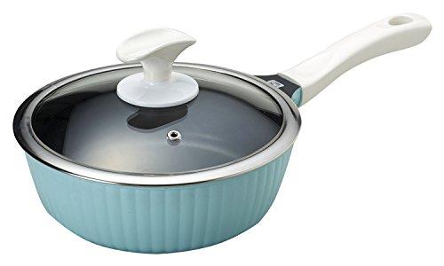 パール金属 ラウレア ふっ素加工 IH対応 ガラス蓋付 片手鍋 20cm ブルー HB-1240