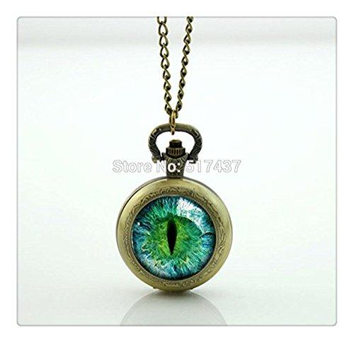 [해외]녹색 고양이 눈의 회중 시계의 화려한 예술 보석 유리 로켓 목걸이 회중 시계 목걸이/Green Cat Eye Pocket Watch Colorful Art Jewelry Glass Rocket Necklace Pocket Watch Necklace