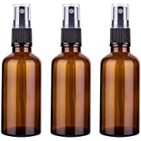3pcs Amber Glass Spray Bottles, 50ML Refillable Container Empty Spray Bottle for Essential Oils, Cleaning Products