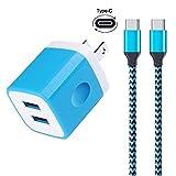 Type cケーブル ACアダプター スマホ急速充電 USB Cケーブル USB電源アダプタ スマホ充電器 2ポート コンパクト タイプc端末対応 (ブルー)
