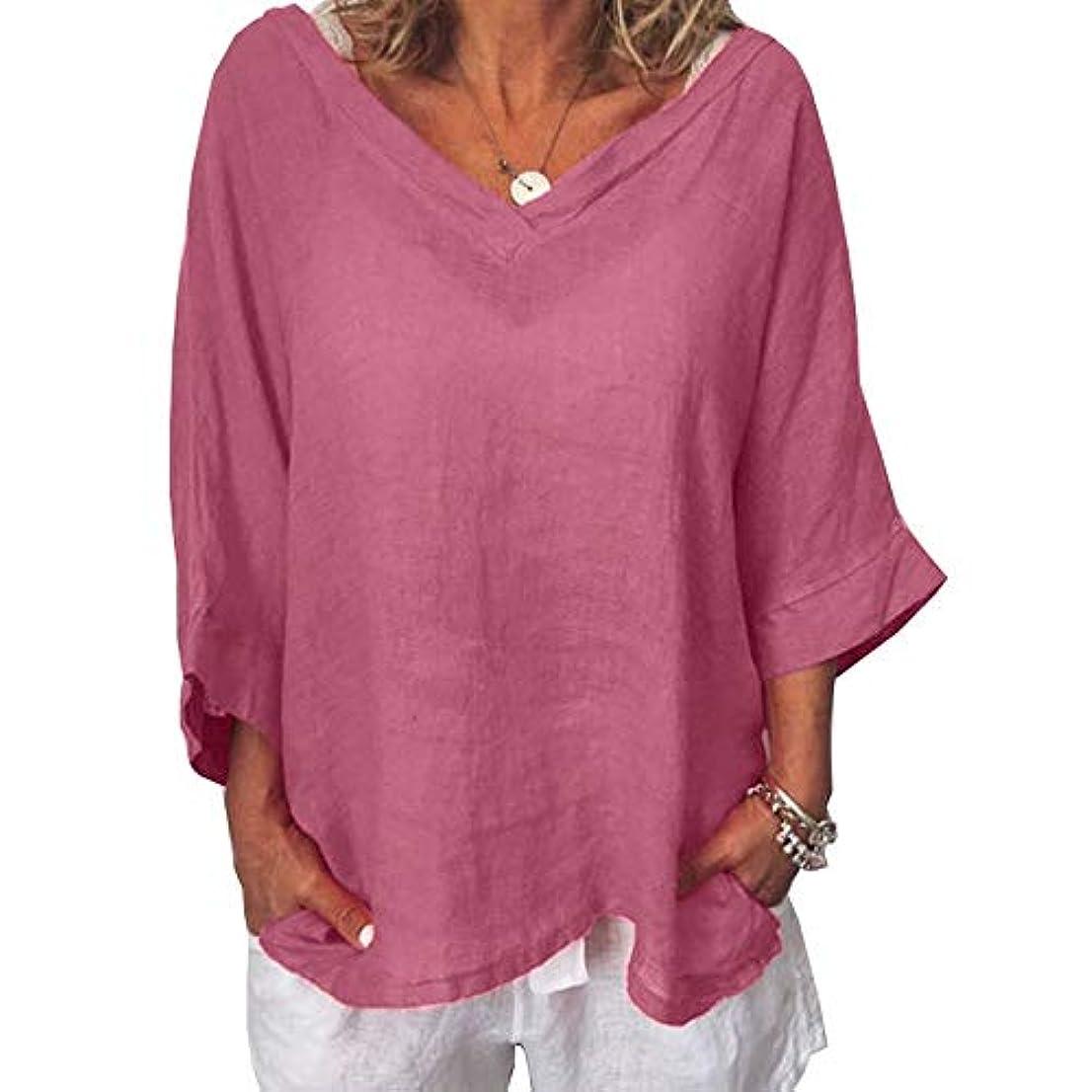 軽減以前は統治可能MIFAN女性ファッションカジュアルVネックトップス無地長袖Tシャツルーズボヘミアンビーチウェア