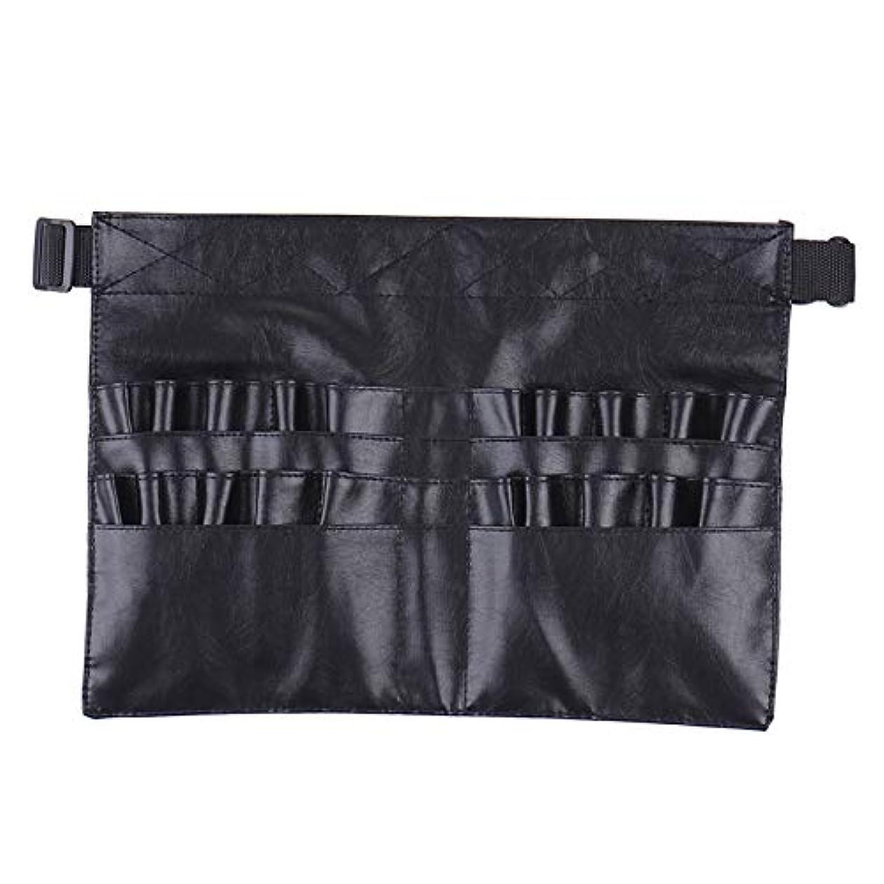 おかしい信仰死にかけているBlack Two Arrays Makeup Brush Holder Professional PVC Apron Bag Artist Belt Strap Protable Make Up Bag Cosmetic...