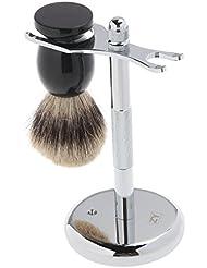 ROSENICE アナグマ毛 + シェービング ブラシ 2 個シェービング スタンド セット クロム スタンド木製ブラシ