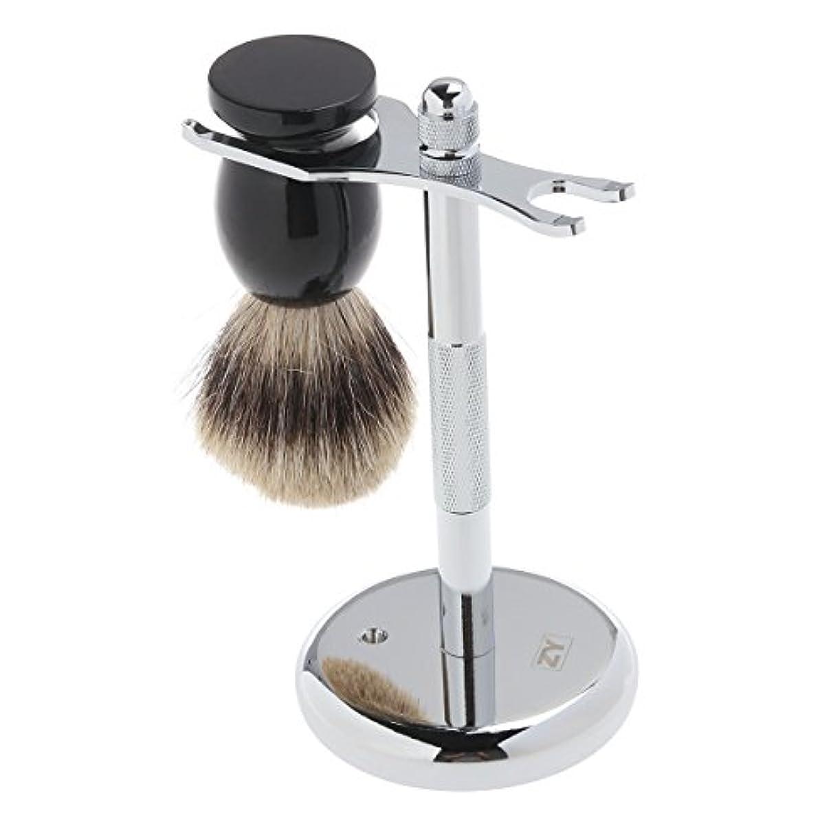 歯割り込み意義ROSENICE アナグマ毛 + シェービング ブラシ 2 個シェービング スタンド セット クロム スタンド木製ブラシ