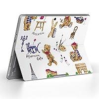 Surface go 専用スキンシール サーフェス go ノートブック ノートパソコン カバー ケース フィルム ステッカー アクセサリー 保護 くま エッフェル塔 かわいい 013287