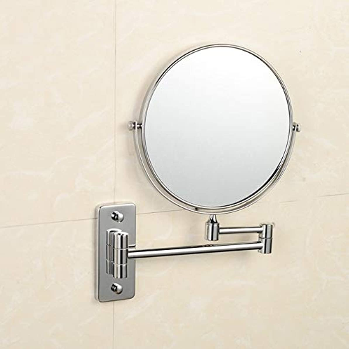 けがをする廃棄する人道的流行の 銅浴室鏡折りたたみ伸縮性格人格美人表裏面360度回転壁掛け虫眼鏡ミラーシルバーホームビューティーミラー浴室