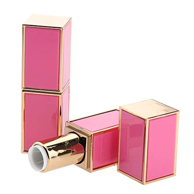 無礼に近くリンス2本 1.21cm口紅管 口紅チューブ 正方形 リップクリームチューブ ABSコンテナ 2色選べ - ピンク
