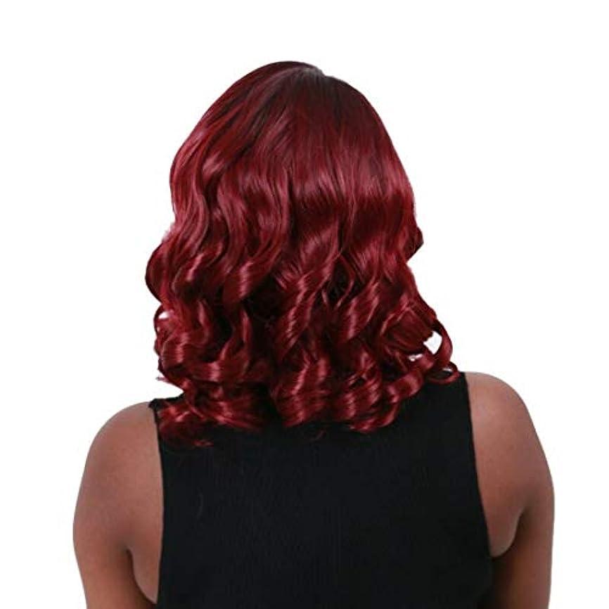 教師の日商品リングKerwinner 女性のための短い波状の合成かつらかつら短いふわふわボブ変態