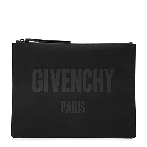 GIVENCHY ジバンシィ BK 06072240 001 C.SLG-ZIPPED POUCH L ナイロンキャンバス クラッチバッグ ポーチ バッグインバッグ ロゴプリント カラーBLACK/ブラック [並行輸入品]