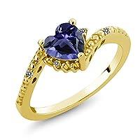 Gem Stone King 0.61カラット 天然 アイオライト (ブルー) 天然 ダイヤモンド シルバー925 イエローゴールドコーティング 指輪 リング