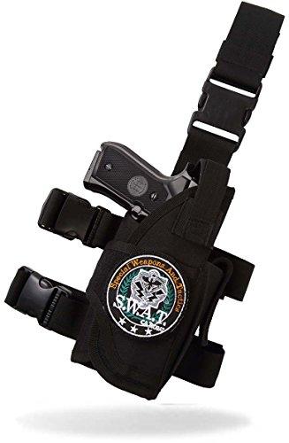 Catsobat レッグホルスター SWATワッペン脱着可能 ベルクロ式特注仕様 (右足用, BLACK (黒))