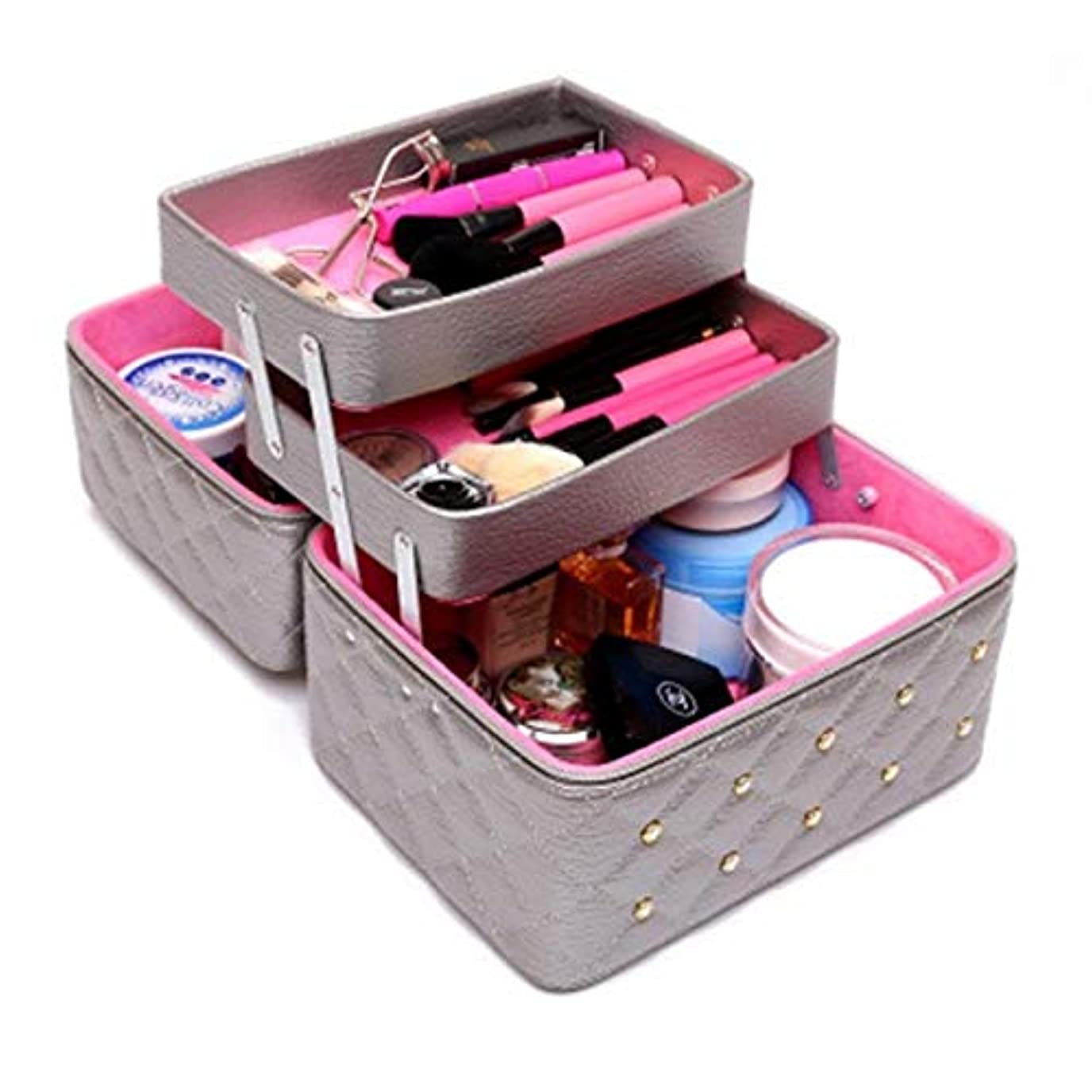 弱点手当観察持ち運びできる メイクボックス 大容量 取っ手付き コスメボックス 化粧品収納ボックス 収納ケース 小物入れ (ライトグレー)