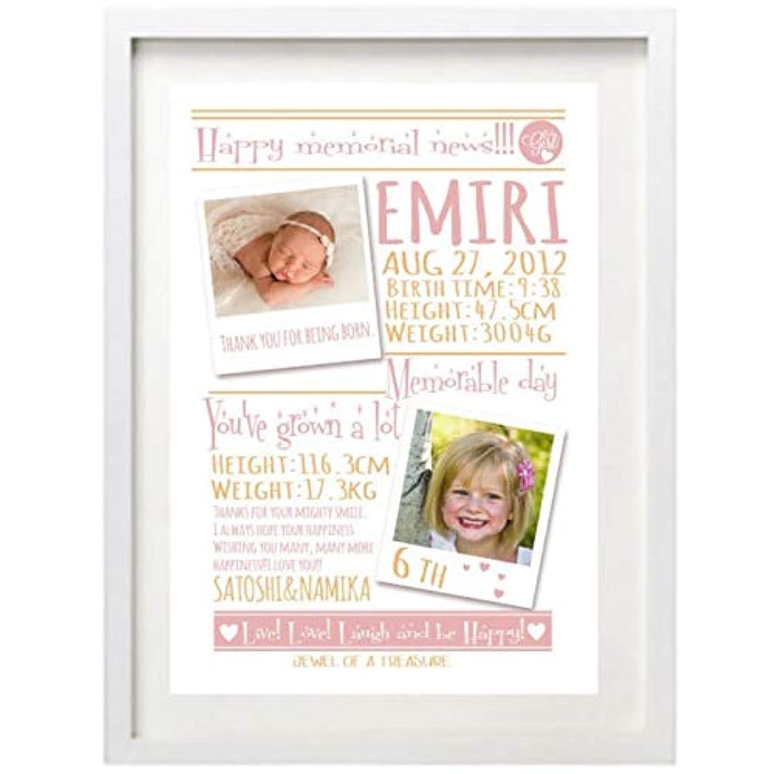 隔離する要件非アクティブ成長の記録を一枚のポスターに!お名前写真入りポスター(A4) (WHITE GIRL)