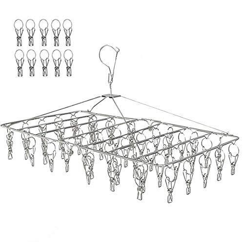 LEEPWEI ピンチハンガー 洗濯 物干し ハンガー ステンレス 52ピンチ 折りたたみ式 収納便利 プレゼント (10個予備ピンチ付)