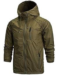 gawaga メンズランニングジャケット軽量ウインドブレーカー通気性ウインドジャケット