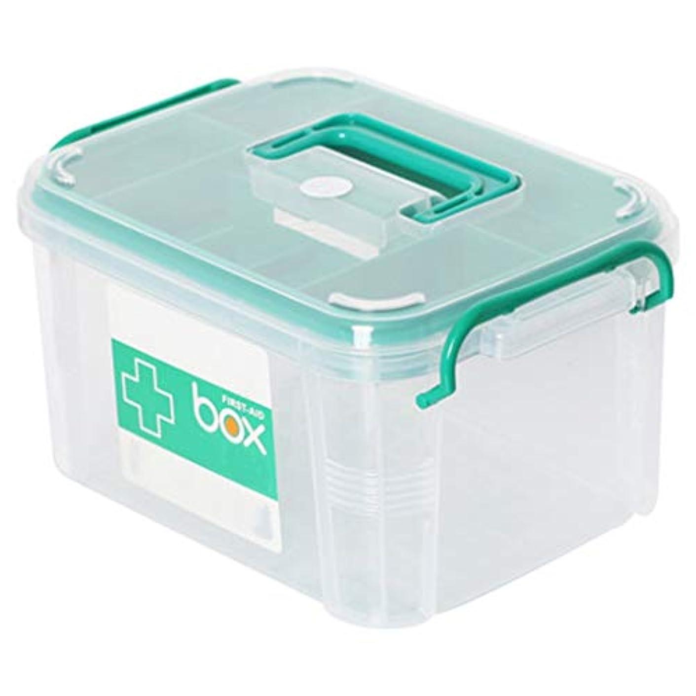 ボランティア保有者吐き出すLLSDD 家庭用薬品箱二重収納箱救急箱医療製品収納箱プラスチック救急箱 (Size : 26.5x18.5x14.5cm)