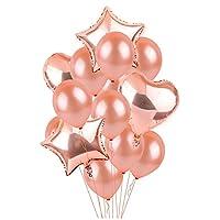 風船 バルーン 気球 誕生日 飾り付け セット フォイルバルーン スターバルーン ハートバルーン ラテックス風船 誕生日パーティー、結婚式、パーティーデコレーション用(14個入り)