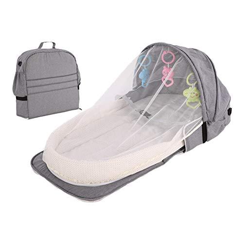 ベッドインベッド ベビーベッド 折りたたみベッド 揺りかご おみむつ換え 蚊帳付き コンパクト 持ち運び便利 出産お祝い 新生児用寝具 (グレー2)