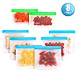Reusable Storage Bags 8 Pack, 6 Reusable Sandwich Bags & 2 Reusable Snack Bags, Leakproof Ziplock Freezer Bags BPA Free, Heavy Duty Rezip Food Storage Bags Reusable Lunch Snack Bags for Kids Women Men