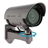 Kabalo Realistic Fake Dummy CCTV Security Camera Flashing Red LED Indoor Outdoor Silver
