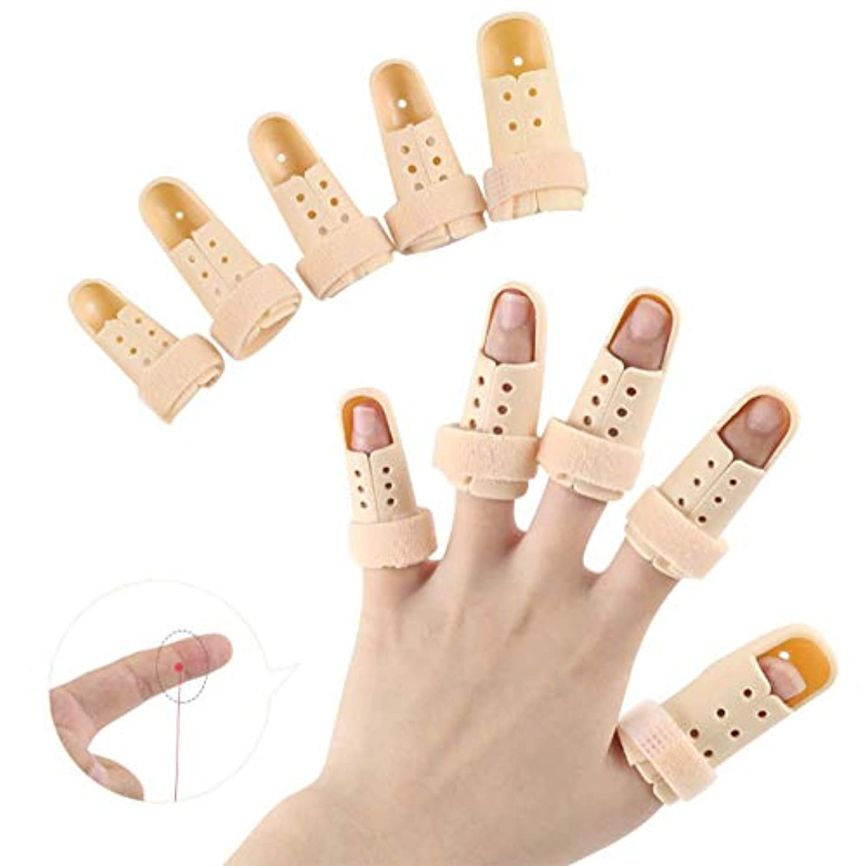 声を出して異常なフェリー指の添え木支柱、木槌指の添え木、バスケットボールのためのプラスチック製の指プロテクターサポート、指の関節の痛みのための10個のフィンガーイモビライザー