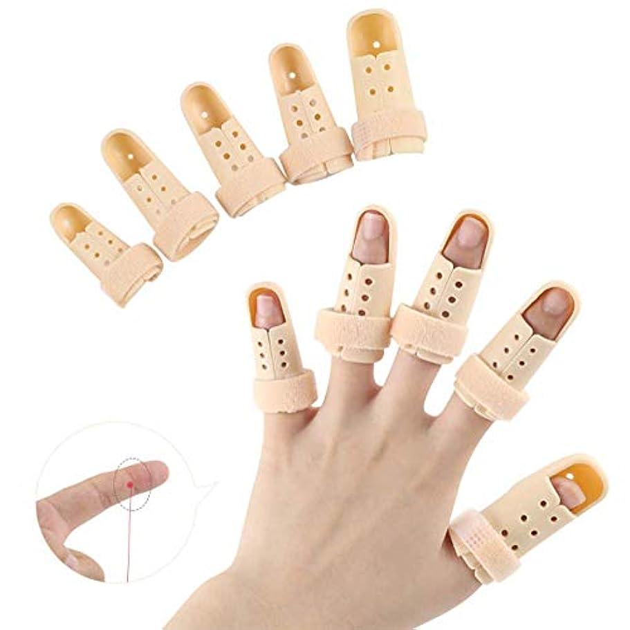 帰するフラフープ運河指の添え木支柱、木槌指の添え木、バスケットボールのためのプラスチック製の指プロテクターサポート、指の関節の痛みのための10個のフィンガーイモビライザー