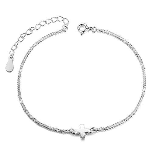 [해외]SHEGRACE 발목 크로스 발목 장식 십자가 실버 스털링 실버 925 조정자 보석 여성 180mm/SHEGRACE Anklet cross ankle decorated cross Silver sterling silver 925 with adjuster Jewelry Women`s 180 mm