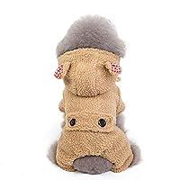 ペットの犬の服秋と冬のフード付きジャケットテディキャットウォームコート4本脚のコットンコート