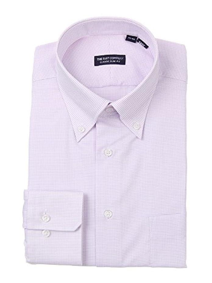 憂鬱な空の自然(ザ?スーツカンパニー) ボタンダウンカラードレスシャツ マイクロチェック 〔EC?CLASSIC SLIM-FIT〕 パープル×ホワイト
