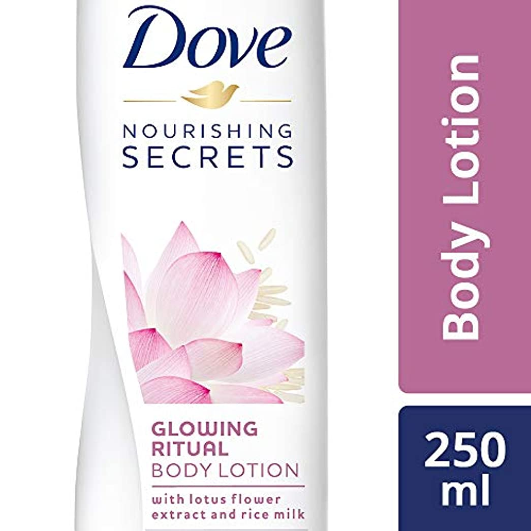 急行する素晴らしい良い多くのカルシウムDove Glowing Ritual Body Lotion, 250ml (Lotus flower and rice milk)
