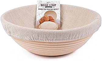 (25 cm) Round Banneton Proofing Basket Set - Brotform Handmade Unbleached Natural Cane For homemade Crusty Fresh, Easy...
