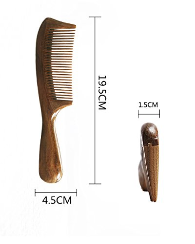 Orienex 櫛 コーム 木製 ヘアブラシ ヘアコーム 静電気防止 美髪 艶髪ブラシ 頭皮マッサージ 天然緑檀 自然な香り