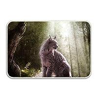 業務用 動物Lynxファンタジーアート玄関マット 屋外 泥落とし 屋内 厨房 入口用滑り止め付き ドアマット 60×40cm