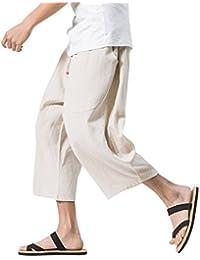 VINMORI (ヴィンモリ) メンズ サルエルパンツ 半パンツ 麻 袴パンツ 7分丈 クロップドパンツ ズボン ショートパンツ ゆったり ワイドパンツ 短パン 夏 無地 調整紐 大きいサイズ