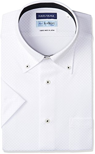 [ハルヤマ] i-shirt 完全ノーアイロン 半袖 ボタンダウンアイシャツ メンズ M162180029 ホワイト 日本 L(首回り41cm) (日本サイズL相当)
