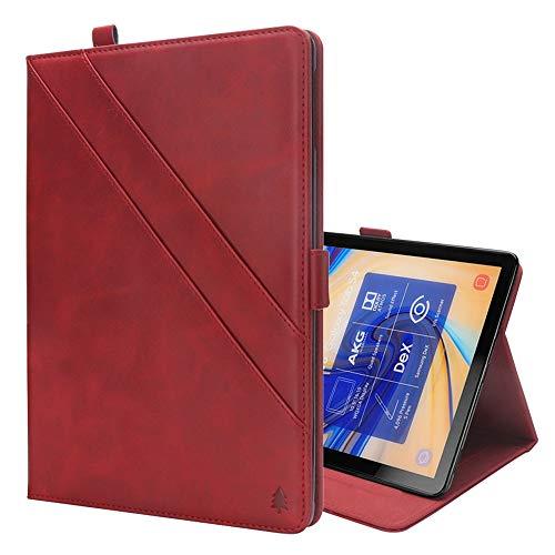 GzPuluz 保護ケース PCアクセサリー Galaxy Tab S4 10.5 T830 / T835用カードスロット&フォトフレーム&ペンスロット付き、水平フリップダブルホルダーレザーケース (色 : Red)
