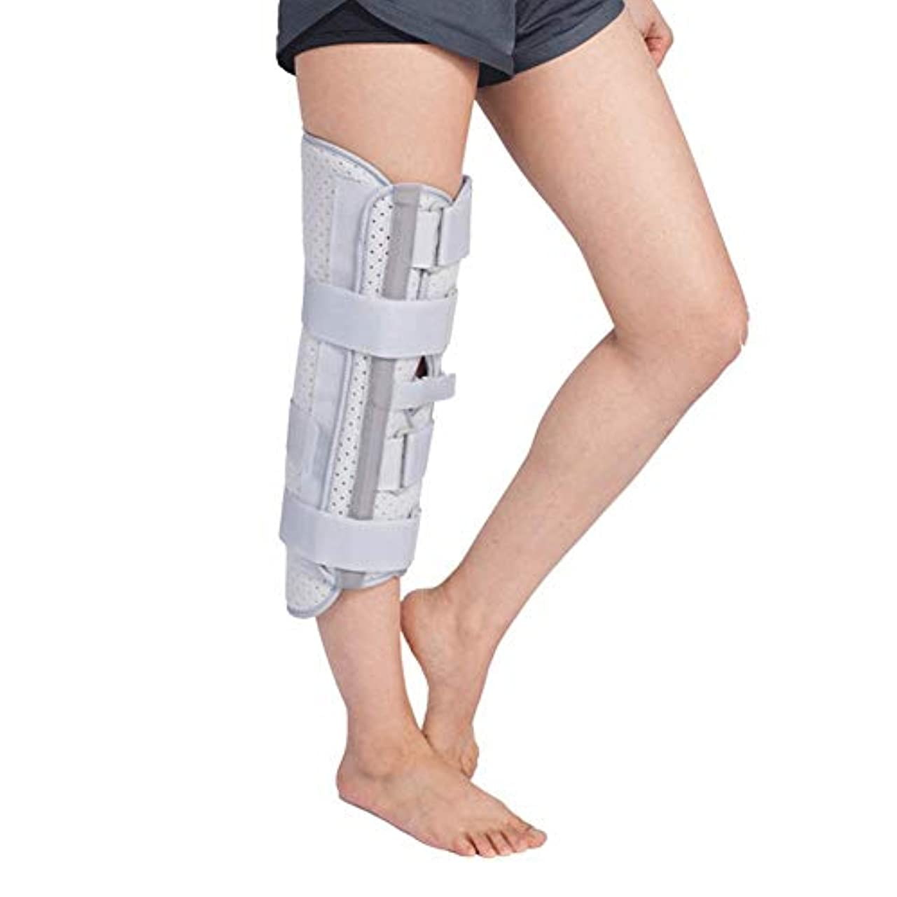 ヒステリックごめんなさいアンデス山脈膝ポストプリ操作&手術の回復ストレート膝スプリントのサポートのために、適切な通気性と軽量膝固定装具、全下肢装具 (Size : L)