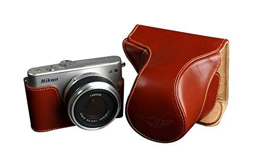 TP Nikon ニコン Nikon 1 J3用本革レンズカバー付カメラケース(11-27.5mm用) ブラウン