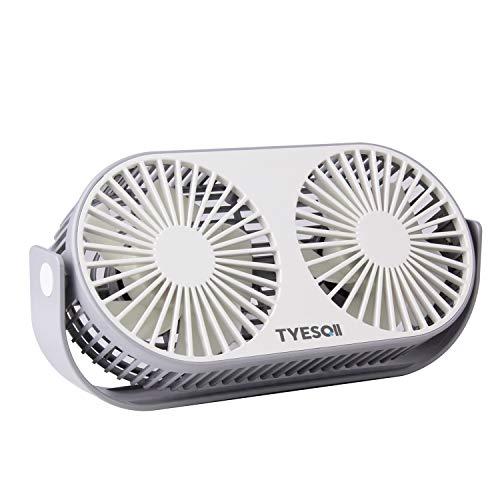 TYESQII USB扇風機 卓上扇風機 ミニ扇風機 小型 2倍大風量 3段階調整 角度調整 軽量 家庭 オフィス用 (A3)