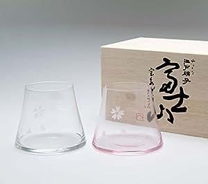 【手づくり江戸硝子】 ビールを注ぐと富士山が現れる! 田島硝子 富士山 宝永グラス ペア 木箱付 クリア+さくら色