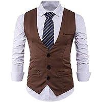 Men's Slim Fit Brown Waistcoat 3 Buttons Suits Vest V-Neck Business Suit Dress Vests