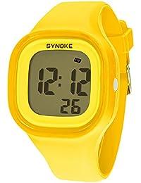 synoke 可愛い 腕時計 デジタル カップル 男の子 女の子 バレンタイン ギフト 卒業プレゼント 柔軟 50m防水レベル 長持ち スペシャル 多機能 スポーツ用 イエロー