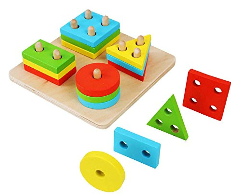 Zinnor 木製 幾何学模様のソーティング ベビーボード ゲーム形状 プランブロック 子供用教育玩具