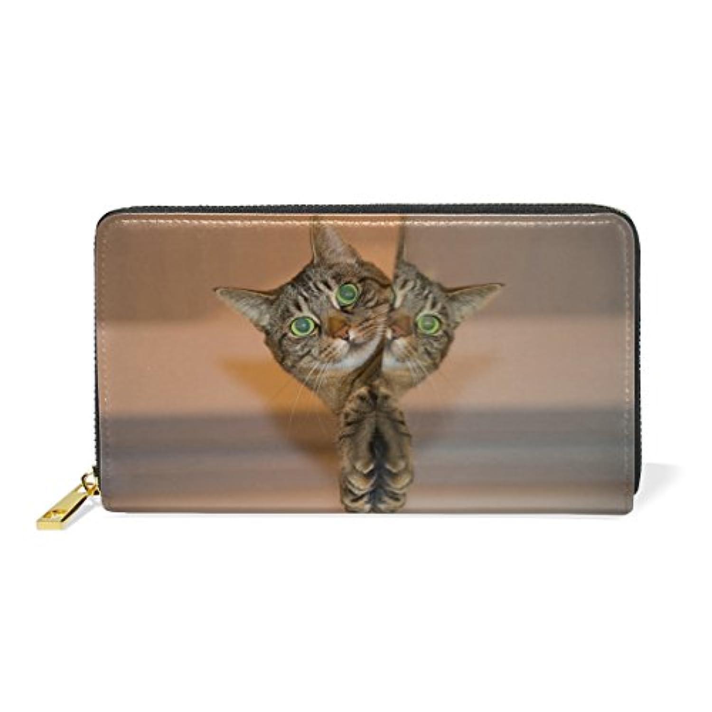 財布 レディース 長財布 大容量 かわいい 猫柄 ネコ 可愛い ファスナー財布 ウォレット 薄型 本革 型押し 小銭入れ プレゼント用