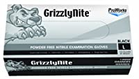 "Hospeco ProWorks GrizzlyNite GL-N105FL Exam Grade Nitrile Glove,Powder Free,Disposable,9.5"" Length,4.3 mils Thick,Large (Pack of 1000) [並行輸入品]"
